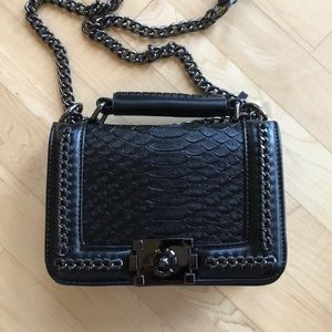 Leather crossbody satchel bag